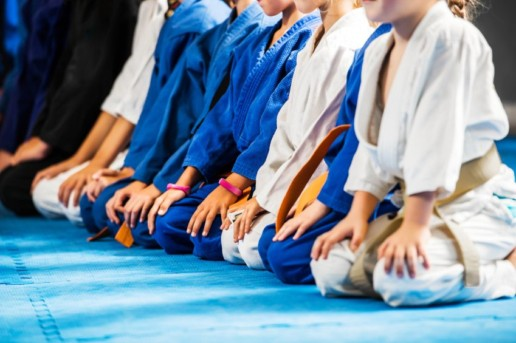 children in a row for karate training